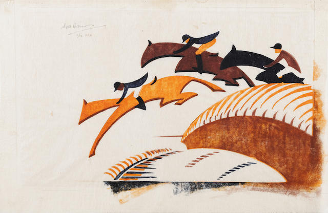 Sybil Andrews, CPE (British/Canadian, 1898-1993) Steeplechasing Linocut, 1930, printed in Chinese orange, alizarin purple madder and Prussian blue, on buff oriental laid tissue, signed, numbered 2/60 and annotated 'USA' in pencil upper left, 223 x 350mm (8 3/4 x 13 3/4in)(SH)