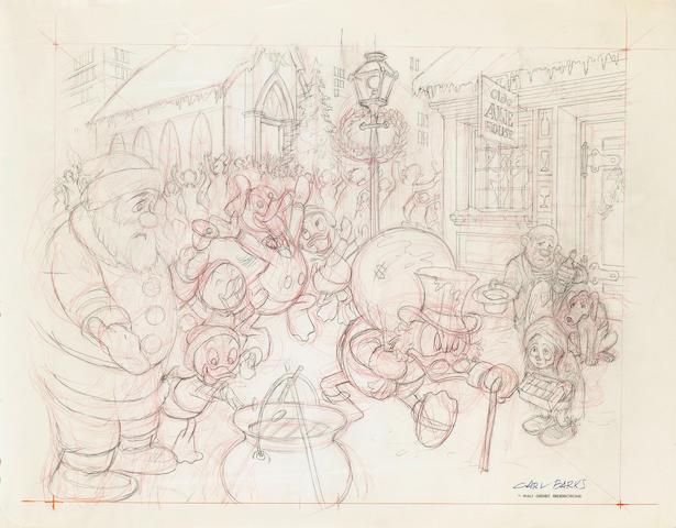 Carl Barks - an original pen and pencil sketch, A Season To Be Jolly,