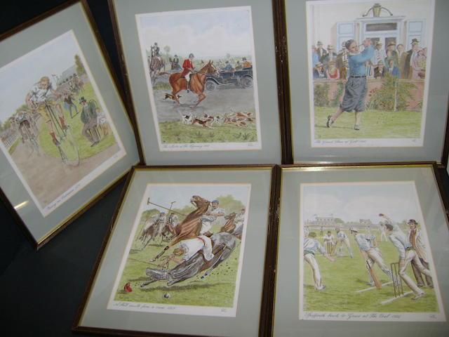 Five various framed Sporting scenes