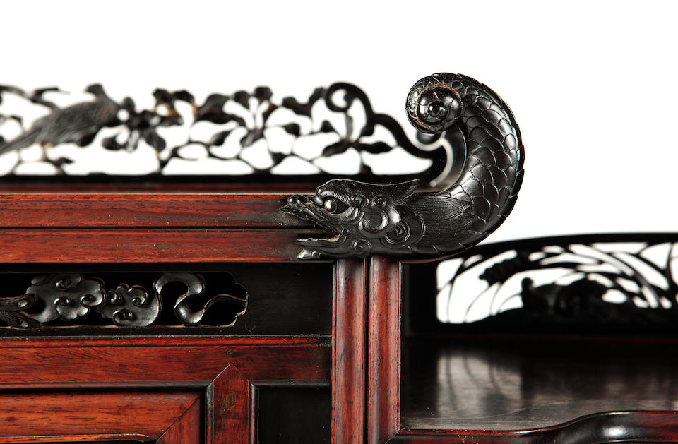 An inlaid hardwood display cabinet Meiji