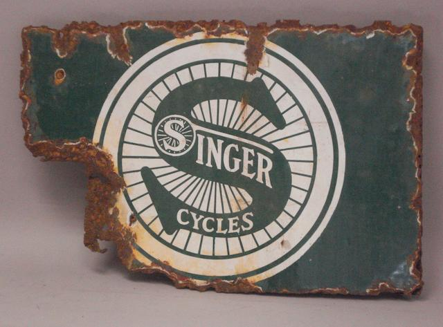 An advertising sign for Singer Cycles,