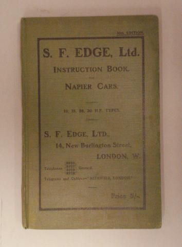 An instruction book for Napier cars,