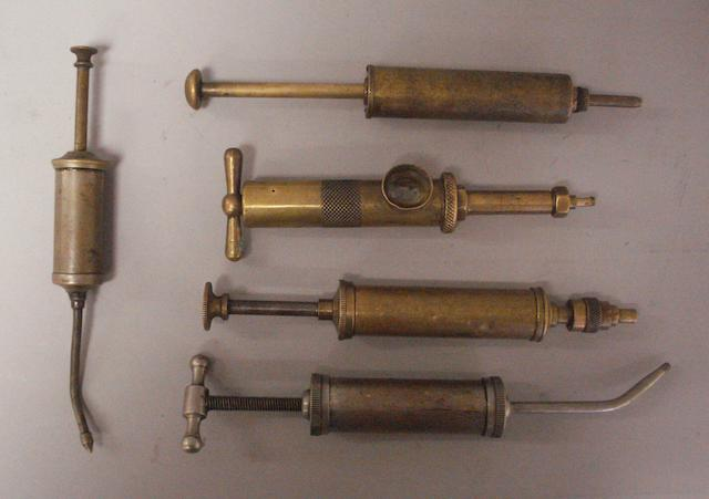 A collection of Nickel & brass syringes, greasers and oil-guns,
