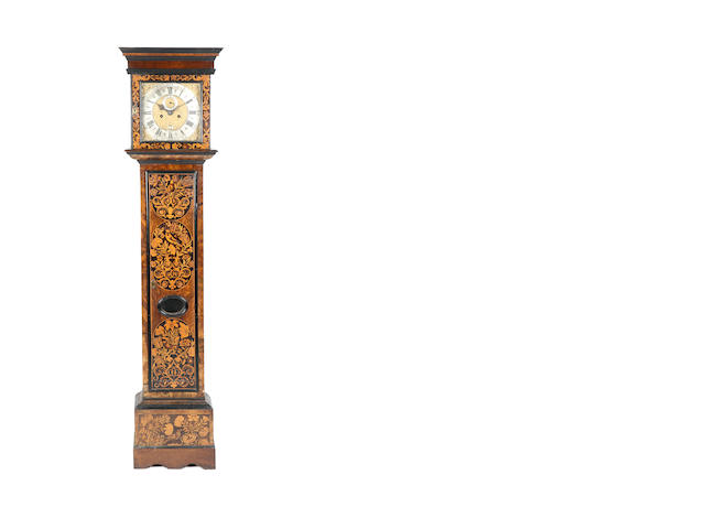 A William and Mary walnut marquetry inlaid longcase clock