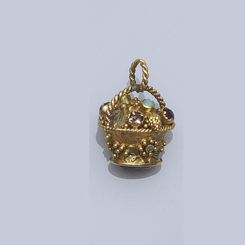 A William IV gem set fob seal/locket pendant,
