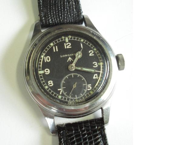 Longines. A stainless steel manual wind military wristwatchCase numbers WWW F7844 23088 4120, Movement number 6948197, 1940's