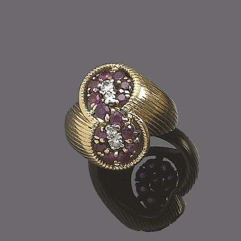A ruby and diamond ring and pair of earclips, by Kutchinsky, (2)