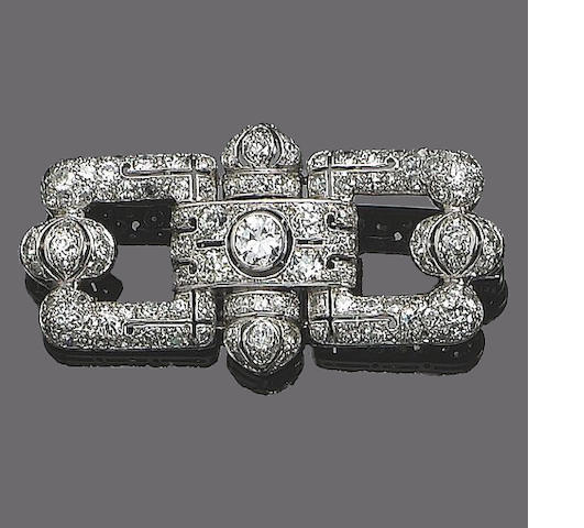An art deco diamond brooch,