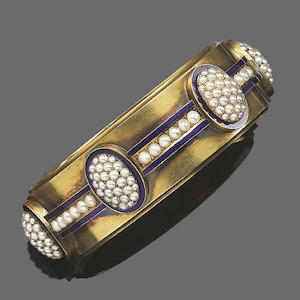 An enamel and seed pearl bangle,