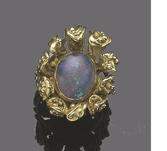 An opal dress ring, by Ingeborg Bratman,
