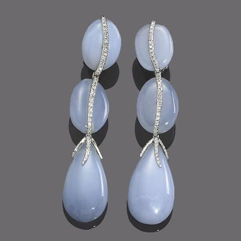 A pair of chalcedony and diamond pendent earrings, by Sabbadini