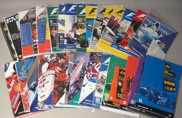 A quantity of Formula 1 Grand Prix Official Race programmes,