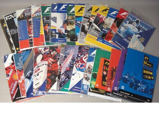 A quantity of Formula 1 Grand Prix Official Race programmes,