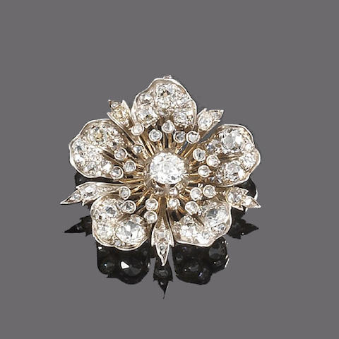 A mid 19th century diamond brooch/pendant,