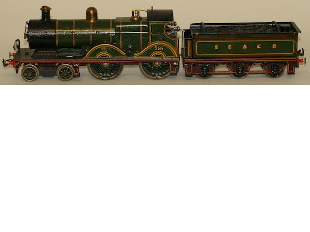 Bing for Bassett-Lowke gauge 1 c/w 4-4-0 516 locomotive and 6-wheel SE&CR tender