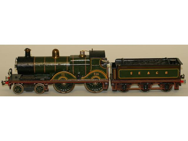 Bing for Bassett-Lowke gauge 1 c/w 4-4-0 516 locomotive and 6-wheel SE&CR tender