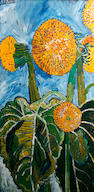 John Bratby R.A. (British, 1928-1992) Sunflowers