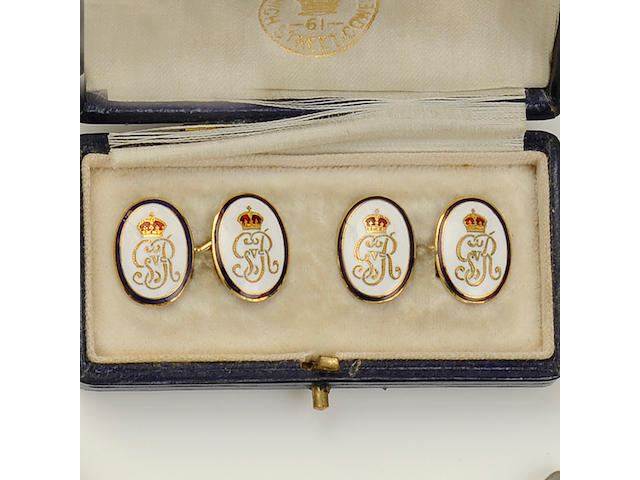 A pair of George V Royal cypher enamel cufflinks, by Benzies of Cowes