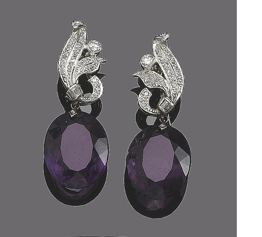 A pair of diamond and amethyst or aquamarine interchangeable pendent earrings