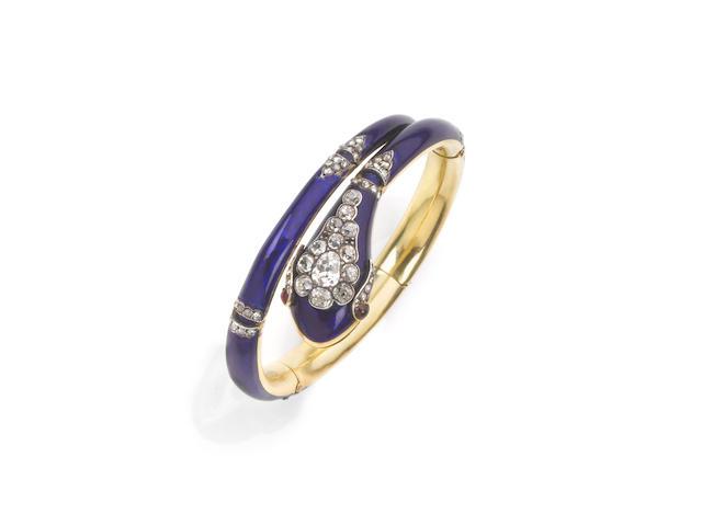 A ruby, diamond and enamel snake bangle,