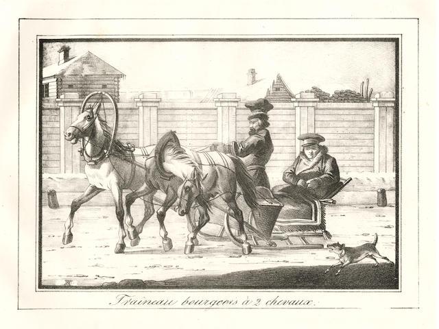 RUSSIA, ST. PETERSBURG Souvenirs de Saint-Pétersbourg. Collection de 38 lithographies représentant des sujets nationaux, des équipages de ville et de voyages, dessinés par divers artistes