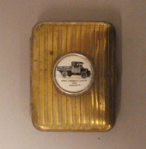A 1920's Nickel on brass cigarette case advertising the Morris Commercial Cars Ltd,
