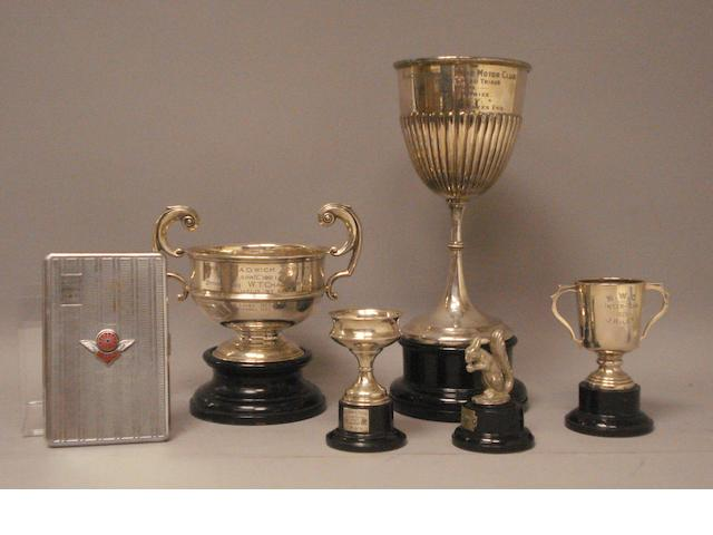 A lot of motorcycling competition awards,