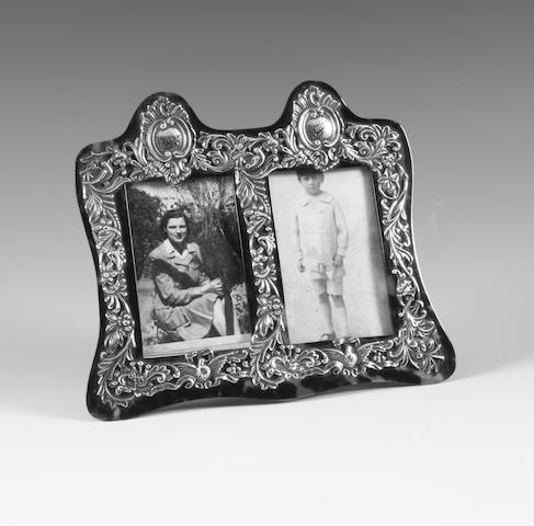 A Victorian silver and tortoiseshell mounted easel-back photograph frame By Henry Matthews, Birmingham, 1887,