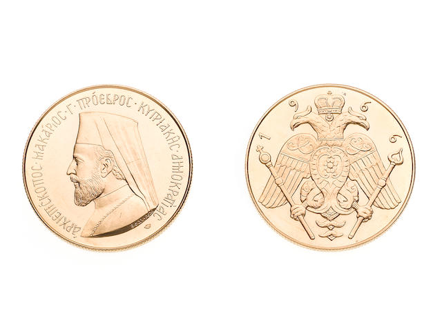 Cyprus, Republic, Gold 5 Pounds, 1966, 40.0g, bust of Archbishop Makarios left,