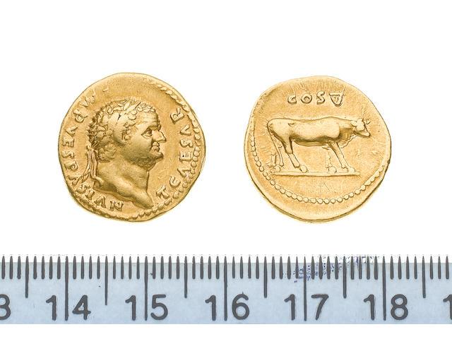 Titus, AD 76, Gold aureus of Titus as Caesar, struck under Vespasian, 7.3g, Rome mint, TCAESAR IMP VESPASIAN laureate head right,