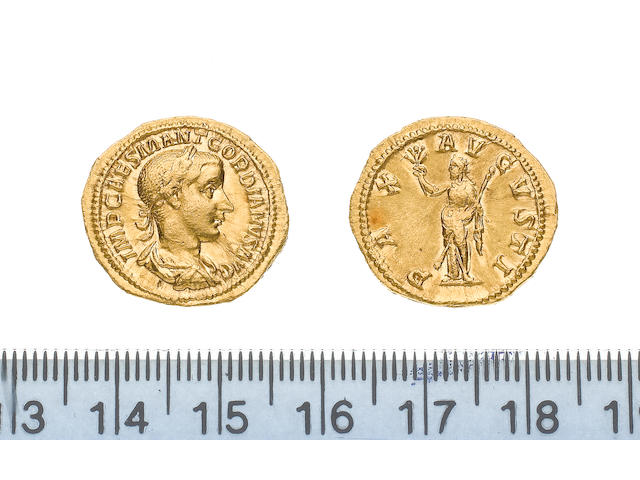 Gordian III (AD 238-244), Gold aureus of Gordian III, minted in AD 238-239, 5.0g, IMPCAESMANTGORDIANUSAUG, laureate and draped bust right,