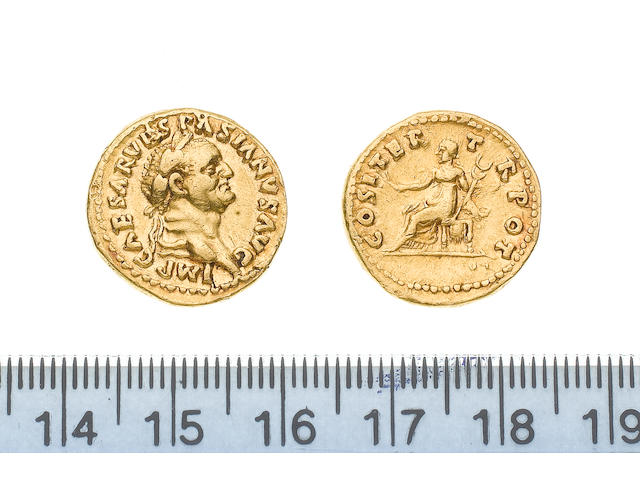 Vespasian (AD 69-79), Gold aureus of Vespasian, minted in Rome AD 69-71, 7.2g, IMPCAESARVESPASIANUSAUG, laureate head right,