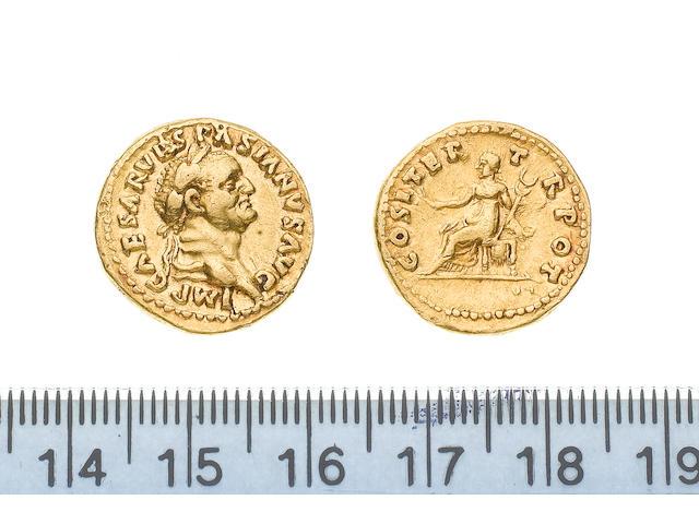 Vespasian, AD 69-79, Gold aureus of Vespasian, minted in Rome AD 69-71, 7.2g, IMPCAESARVESPASIANUSAUG, laureate head right,