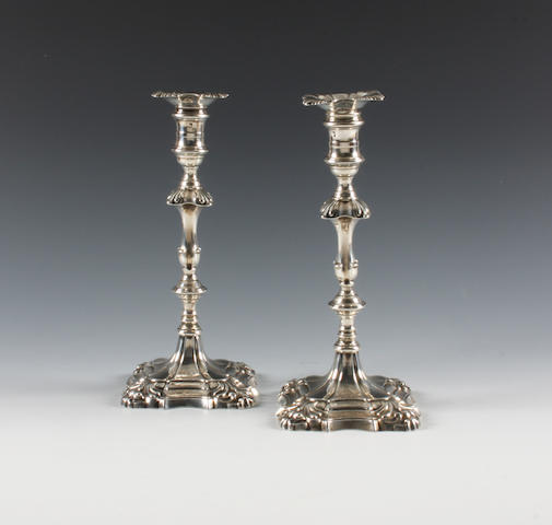 A pair of George III silver candlesticks By Ebenezer Coker, London, 1760,