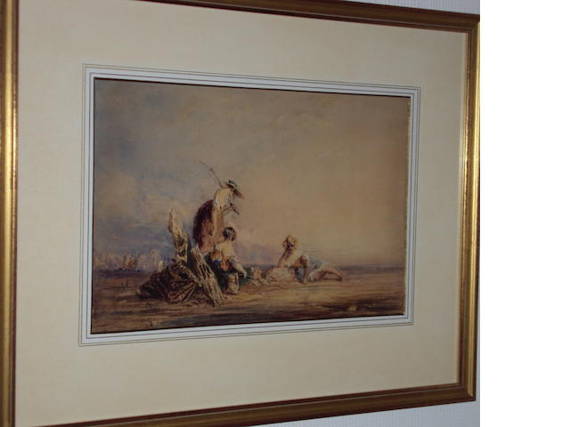 James Pewley? Coastal landscape, signed indistinctly, watercolour and English School, 19th Century,Three fisherwomen, watercolour