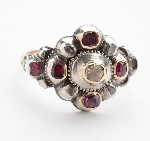 A 19th century, ruby, diamond, paste and enamel ring