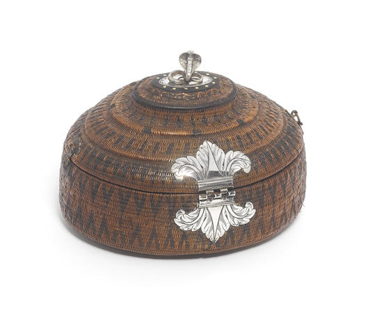 A late 19th/early 20th century Indian silver mounted wicker cobra box, unmarked,