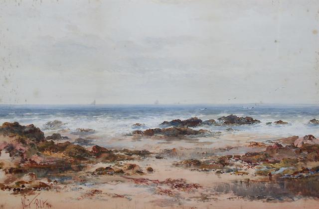 Albert Pollitt (British, 1856-1926) A shore scene, possibly in North Wales,