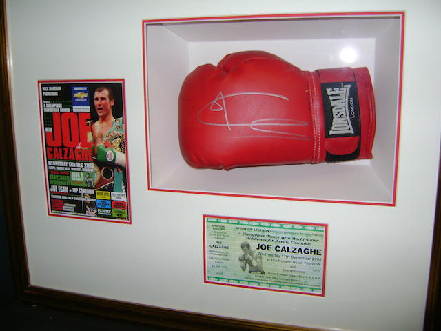 Joe Calzaghe hand signed boxing glove montage
