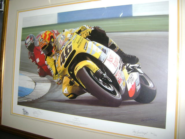 Valentino Rossi hand signed limited edition print