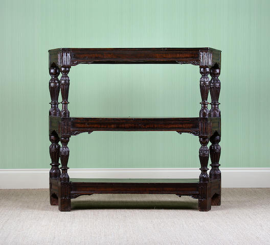 An early 17th Century oak three tier buffet
