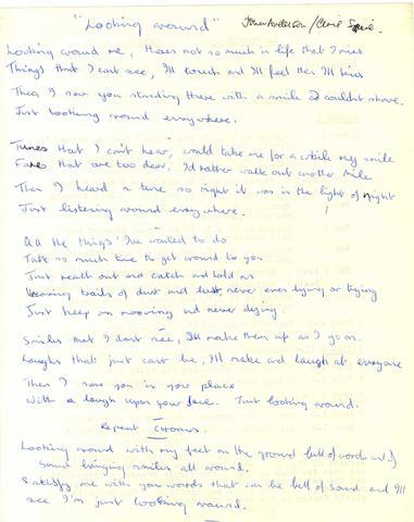 Jon Anderson's handwritten lyrics for 'Looking Around',