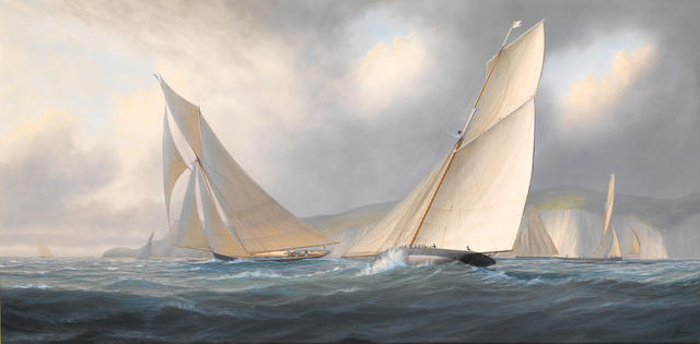 Timothy Franklin Ross Thompson (British, born 1951) Arrow and Alarm battling it out during the original 'America's Cup' race of 1851
