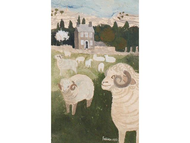 Mary Fedden R.A. (British, born 1915) Sheep in a landscape