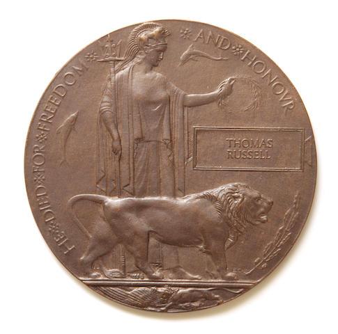 A First World War death plaque