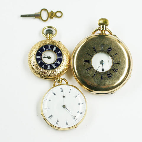 A French gold open faced fob watch, 3