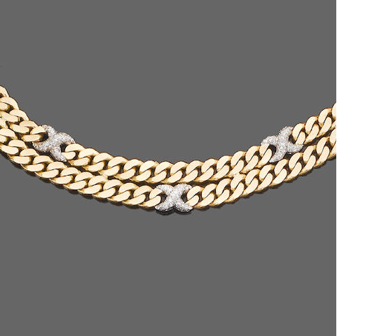 A diamond-set necklace and bracelet suite, by David Morris, and a diamond bar brooch (3) (partially illustrated)