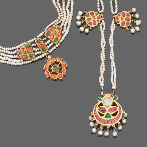 A gem-set and enamel parure and a necklace, Indian (4) (partially illustrated)