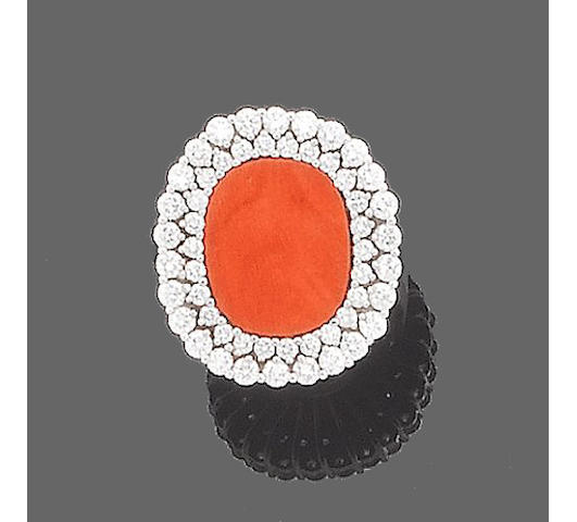 A lady's coral and diamond wristwatch, necklace, earring and ring suite, by IWC (4) (partially illustrated)
