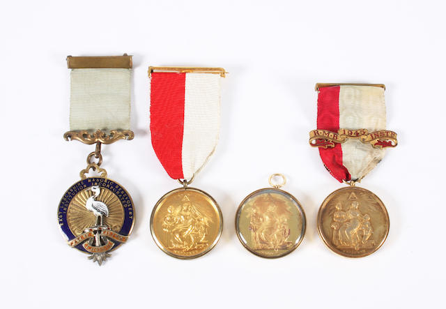 Two 15 carat gold mounted Royal Masonic Benevolent Institution 'Steward' medals